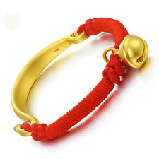 Authentic 24k Yellow Gold Half Bangle with Bell Knitted Bracelet 16cm
