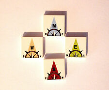 LEGO  4 x Printed Tile 3068 2 x 2 Compass Print, North, South, East, West