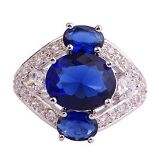 Oval Cut Sapphire Quartz &White Topaz Gemstone Silver Ring Size 10 Free Shipping