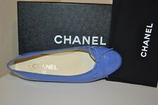 NIB $750+ CHANEL Blue Patent Leather CC Cap Ballet Ballerina Flats Shoe 41 - 11