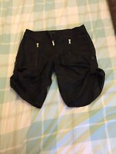 Marrcain Black Turn Up Shorts N3 10 12 14 Ladies New No Tags Cotton Linen Mix