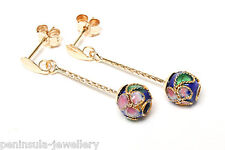 9ct Gold drop earrings Blue Chinese Enamel Ball Gift Boxed Made in UK