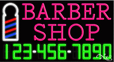"NEW ""BARBER SHOP"" W/YOUR PHONE NUMBER 37x20x3 NEON SIGN W/CUSTOM OPTIONS 15047"