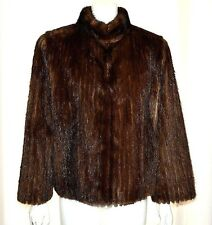 Brown Real Genuine Mink Fur Coat Ribbed Patterned Jacket size Medium M