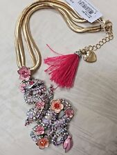 NEW Betsey Johnson Memoirs of Betsey LARGE Dragon Flower Pave Statement Necklace