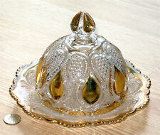 EAPG butter dish dome NEW JERSEY U.S. Glass LOOPS & DROPS #15070 gold trim 1900