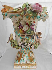 Coalport Vase Painted Flowers Flower Encrusted Cherub Bird Nest H 37cm #3