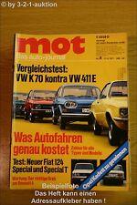 MOT 8/71VW K 70 411 E Fiat 124 Special/Special T