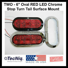 """2 - 6"""" Oval CHROME RED LED Stop Turn Tail Light Surface Mount Trailer Truck USA"""