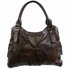 LADIES REAL LEATHER LARGE HANDBAG SHOULDER BAG TAN BROWN BLACK FAWN