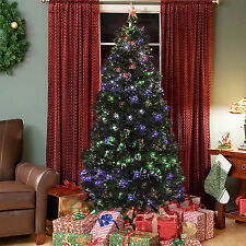 Pre-Lit Fiber Optic 7' Artificial Christmas Tree LED Multicolor Lights and Stand