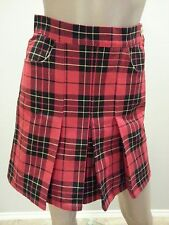 VTG 90's Moschino Jeans Red Black Plaid Schoolgirl Pleated Skirt 40