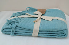 Teal Green Silver Throw Blanket 160x130cm Soft 100% Cotton Chenille