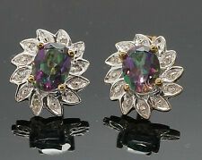 9carat Yellow Gold Mystic Topaz & Diamond Stud Earrings (10x12mm)