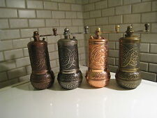 "(4 GRINDERS) 4"" Turkish Pepper Salt Spice Grinder Mill-Brass-Ni Shiny&Mat Colour"
