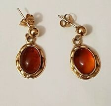 14K (585) Solid Yellow Gold Amber Earrings NOS NEW VINTAGE
