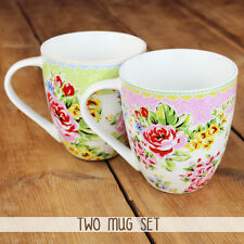 New Churchill China Cotswold Cottage Fine China 2 Mug Set Floral Roses 500ml