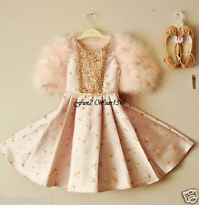 BNWT MONSOON GIRLS PALE PINK GLITTERED STAR DESIGN SEQUINNED PARTY DRESS Age 7y