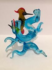 Vintage murano art glass animaux oiseaux woodpeckers in tree