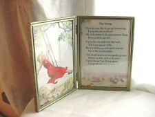 Vtg Girl on a Swing Poem Picture in Brass tone Metal 5 by 7 Ornate Folding Frame