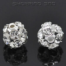 6mm-16mm Pave Czech Crystal Rhinestone Hollow Round Ball Rondelle Spacer Beads