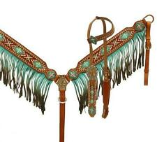 Showman Beaded Inlay Cross Teal Fringe Headstall and Breast collar TACK SET!