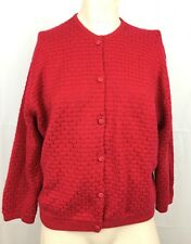 Braemar Cashmere Silk Sweater Red Vintage Women Small Cardigan Made in Scotland
