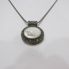 Vintage Art Deco Marcasite 925 Sterling Silver Necklace Oval Mother of Pearl