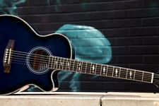 New Lindo Blue Shark Electric Electro Acoustic Guitar Great condition + Bag 292