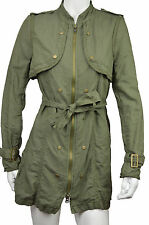 [75 37] FREE PEOPLE NWT WOMENS GREEN ARMY TRENCH COAT WITH BELT SIZE: 12