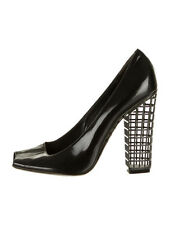 $1190 YSL Yves Saint Laurent Black Patent Leather Peep Toe Cage Heels Pumps 37