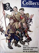 """VERY RARE 1942 """"Collier's Magazine"""" w/ Fantastic Cover by Arthur Szyk - Hilter *"""