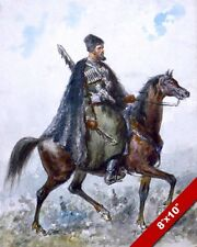 MOUNTED ROMANIAN HUSSAR CAVALRY SOLDIER ON HORSE PAINTING REAL CANVAS ART PRINT