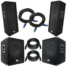 "Set of Dual 15"" PA Speakers & Set of Powered 18"" Subs with Cables  DJ PA Package"