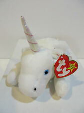 BEANIE BABIES - MYSTIC / UNICORN WITH PINK HORN AND WHITE COARSE MANE