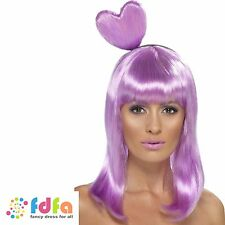 LILAC CANDY QUEEN KATY PERRY WIG & HEART ladies womens fancy dress accessory