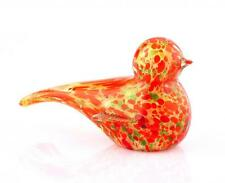 "New 6"" Hand Blown Art Glass Bird Figurine Sculpture Statue Orange Multicolor"