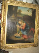 oil painting virgin mary Mother adoring the Christ child 'Correggio' 1800's copy