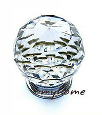 Small Crystal Glass Handle Cabinet Cupboard Drawer Knobs 20mm