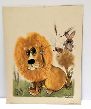 VTG 1960s Retro 11x14 Fun Whimsical Lion Lithograph George Buckett 1963 Mounted