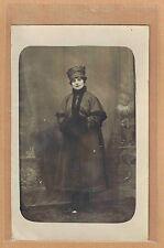 Carte Photo vintage card RPPC femme élégante manteau chapeau mode fashion ph0399