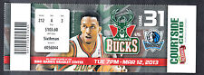 Milwaukee Bucks vs Dallas Mavericks March 12 2013 Unused Ticket Brandon Jennings
