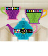3 MAD HATTERS TEA PARTY HANGING HONEYCOMB Alice in Wonderland Decorations 90053
