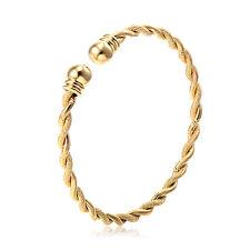 Vintage Womens Fashion Charm Rope Bangle hammered Love Bracelet 24K Gold Filled