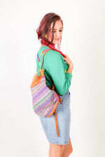 Colourful Vintage tapestry embroidered leather back pack boho hippy festival