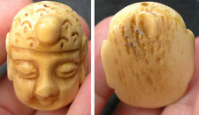 #4 Tibet100%  Natural Bone Hand Carving Buddha Pendant 1 5/16 in or 34.00mm