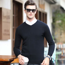 Mens High quality V-neck Casual 100% woolen cashmere Sweater pullover Winter New