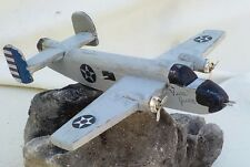 Vintage Folk Art Wood B-25 Mitchell Bomber WW II Toy Airplane Restored from Junk