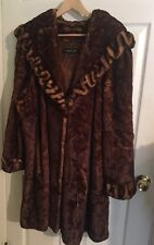 JONES NEW YORK WOMAN'S Brown FAUX FUR LONG HOODED COAT SIZE 3X GORGEOUS!!