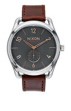 New Nixon C45 Gray Dial Leather Strap Men's Swiss Quartz Watch A4652064